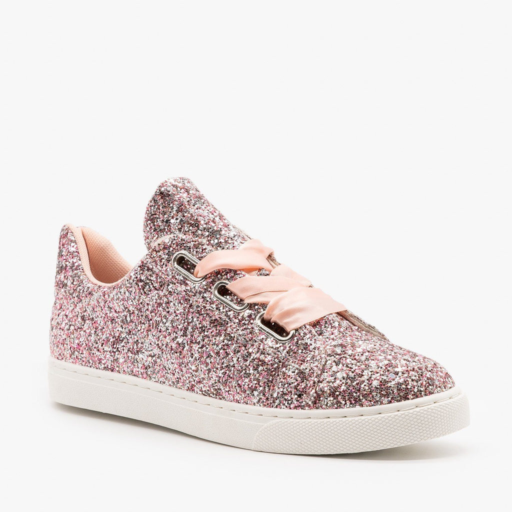 Womens Glitter Ribbon-Laced Fashion Sneakers - Forever - Pink / 5