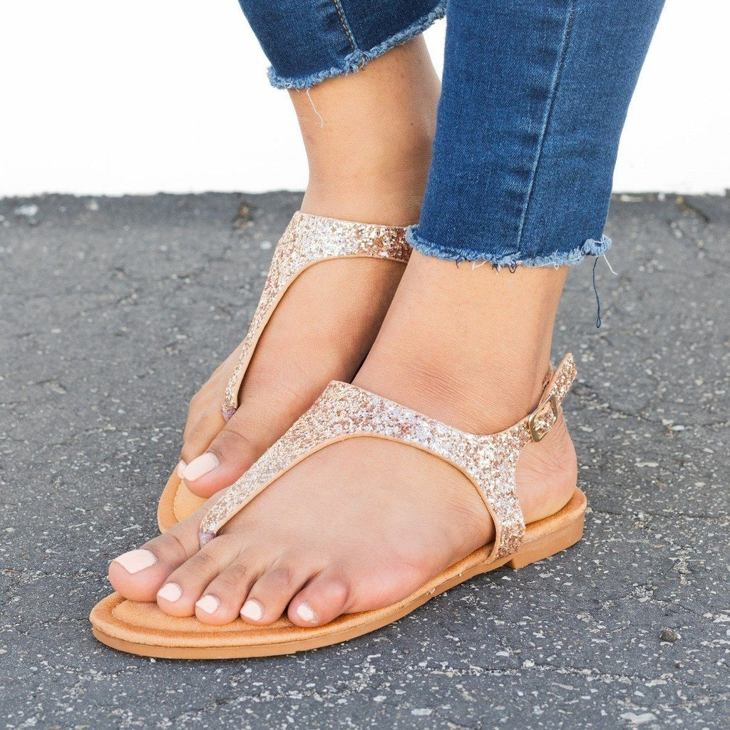 Womens Glitter Slingback Sandals - Forever - Rose Gold / 5
