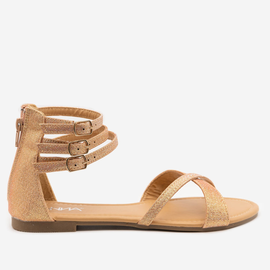 Women's Glittery Cuffed Ankle Sandals - Anna Shoes - Rose Gold / 5