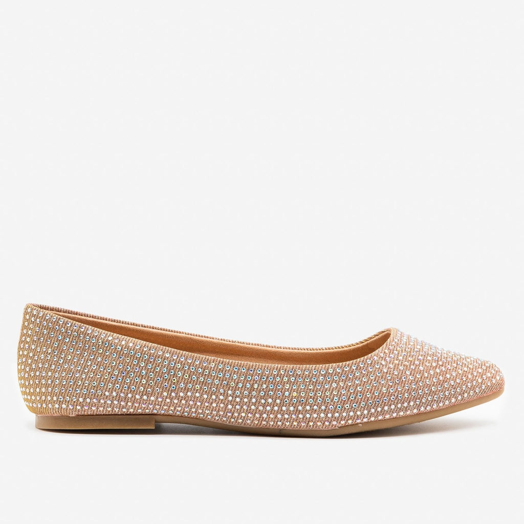 Women's Glitzy Almond Toe Flats - Bamboo Shoes - Rose Gold / 5