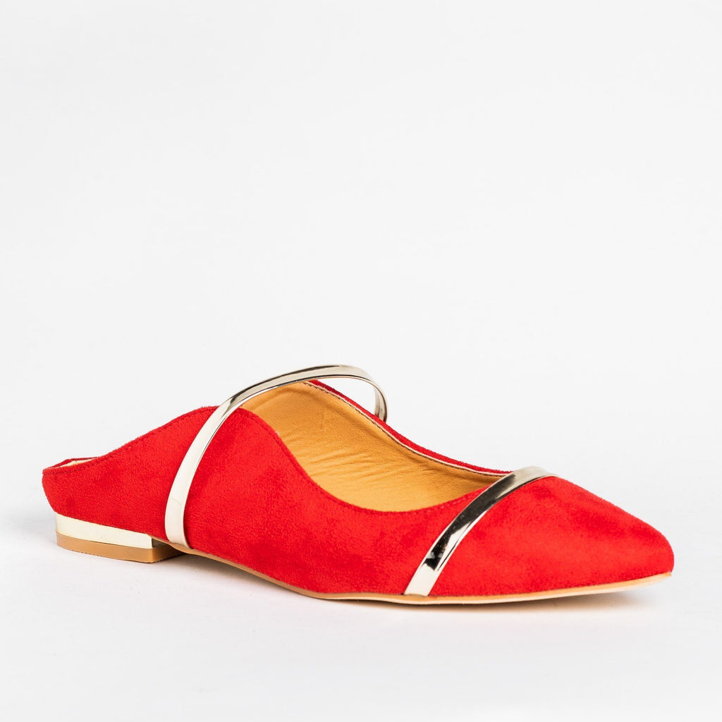 Womens Gold Accented Designer Mule Flats - Catherine - Red / 5