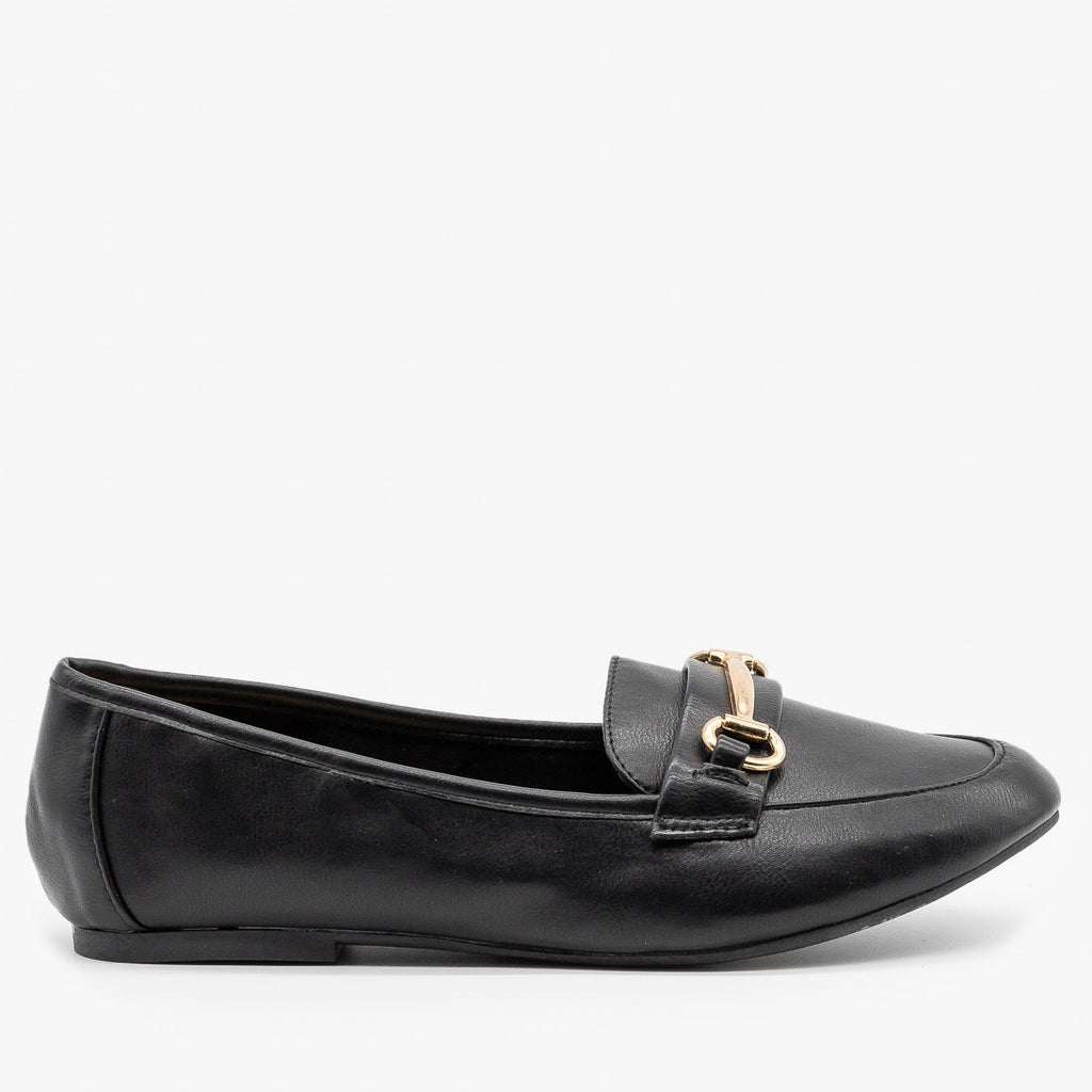 Womens Gold Bar Accented Loafers - Bamboo Shoes - Black (Faux Leather) / 5