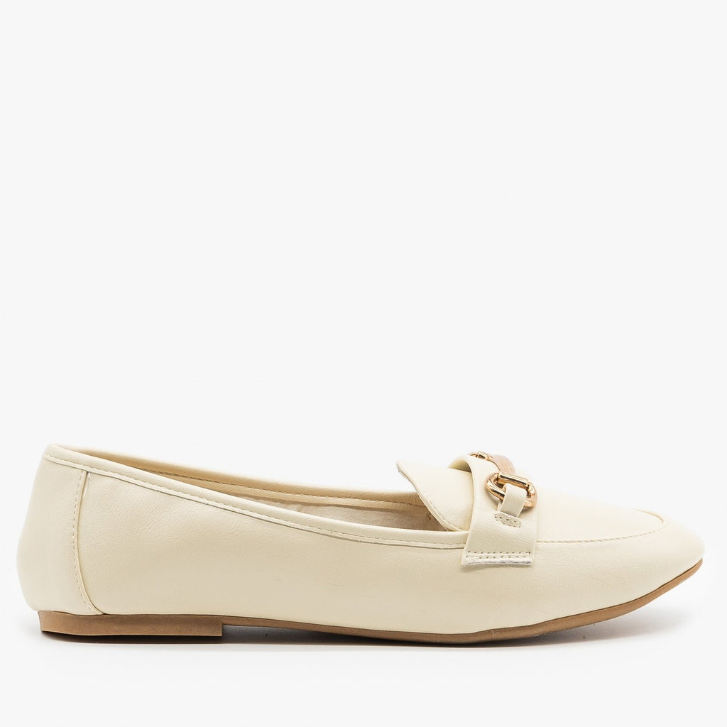 Womens Gold Bar Accented Loafers - Bamboo Shoes - Ivory / 5