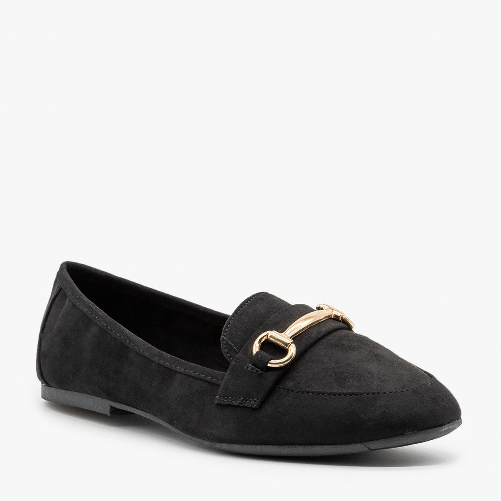 Gold Bar Accented Loafers Bamboo Shoes