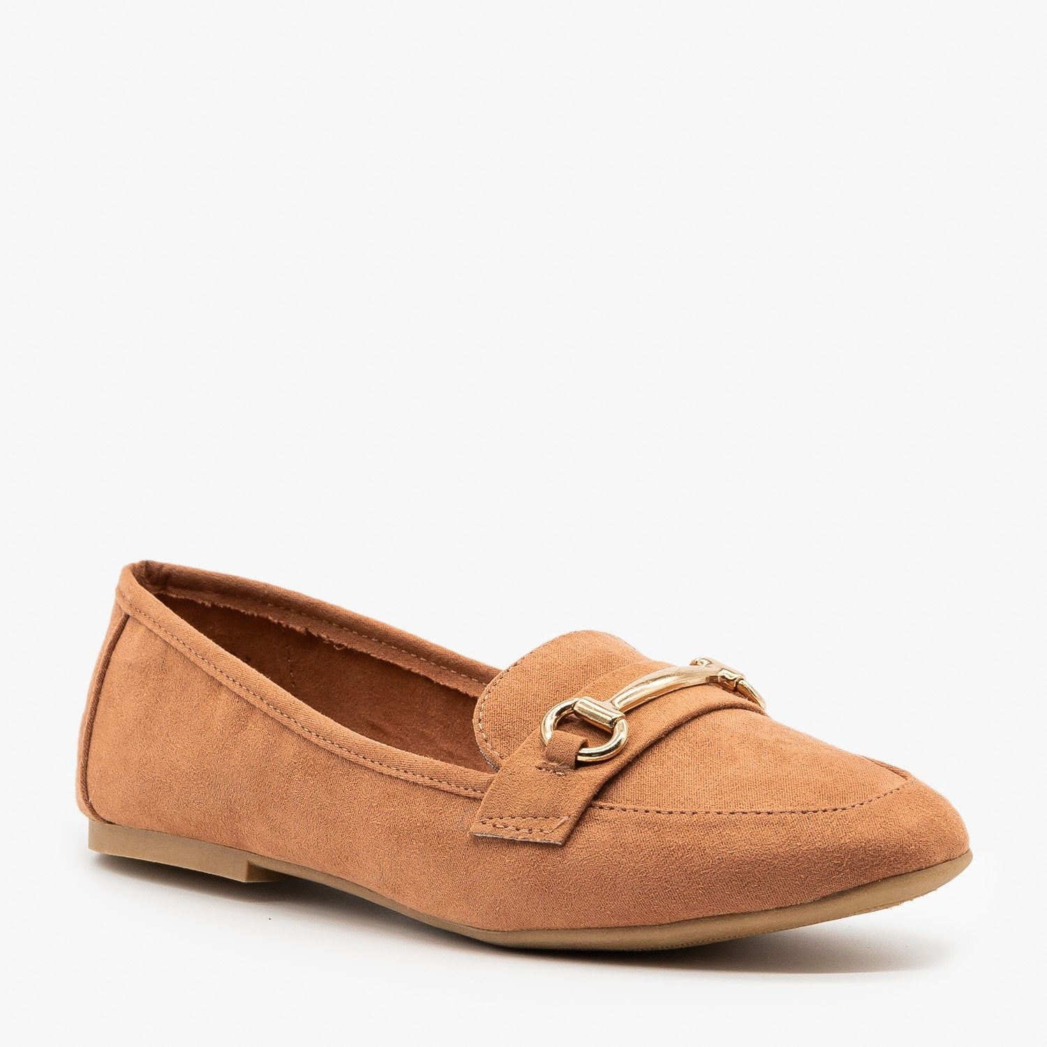"""Bamboo /""""Jackpot-24S/"""" Women/'s Gold Bar Accented Loafers"""