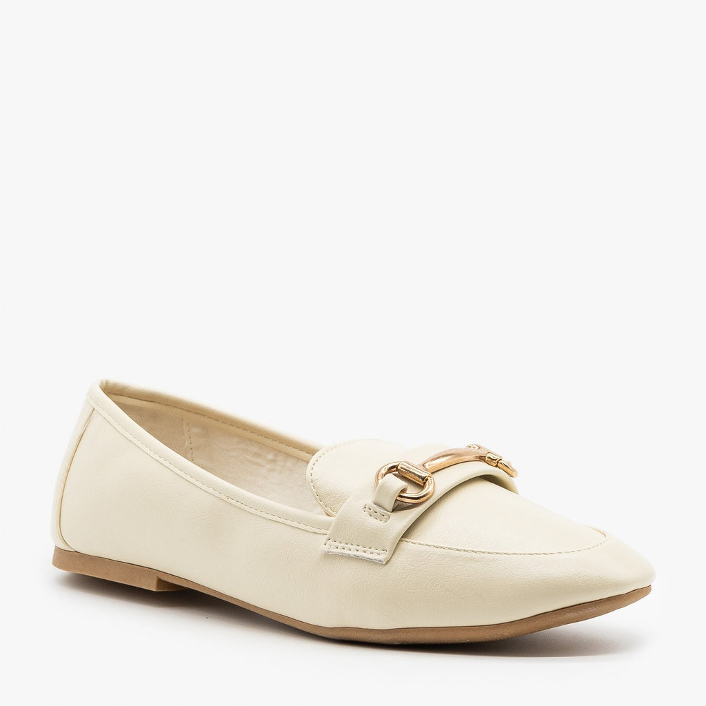 Womens Gold Bar Accented Loafers - Bamboo Shoes