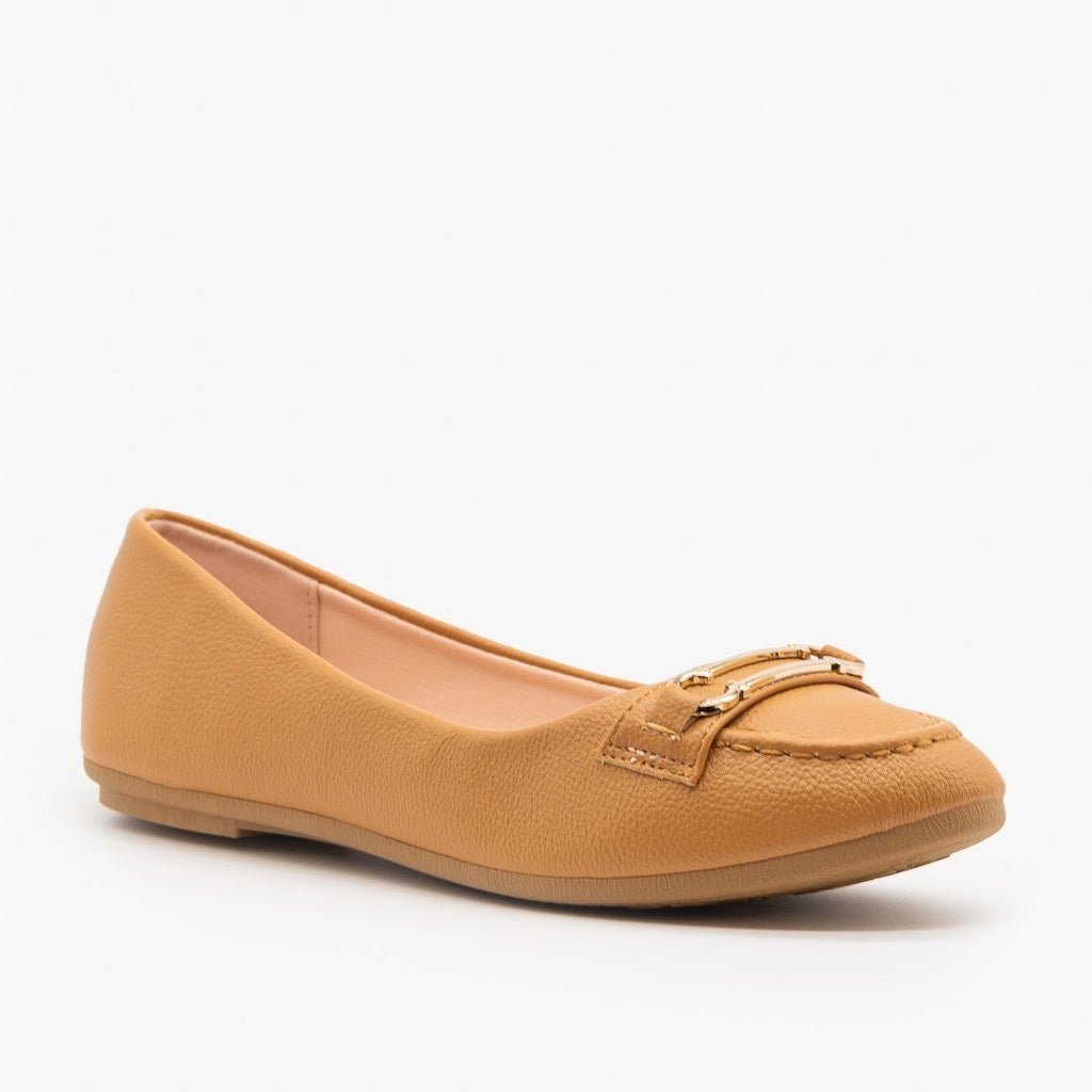 Womens Gold Bracket Accented Flats - Forever - Tan / 5
