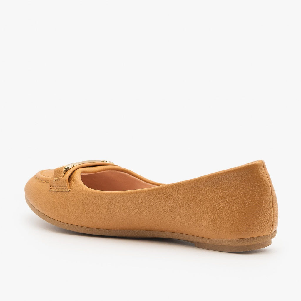 Womens Gold Bracket Accented Flats - Forever