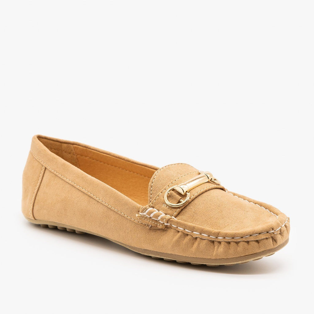 Womens Gold Buckle Loafers - Wild Diva Shoes - Tan / 5