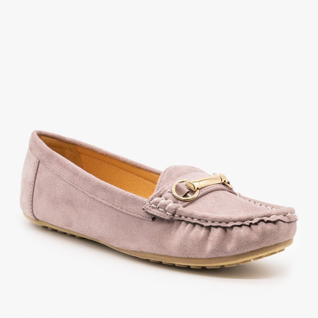 Womens Gold Buckle Loafers - Wild Diva Shoes - Lavender / 5