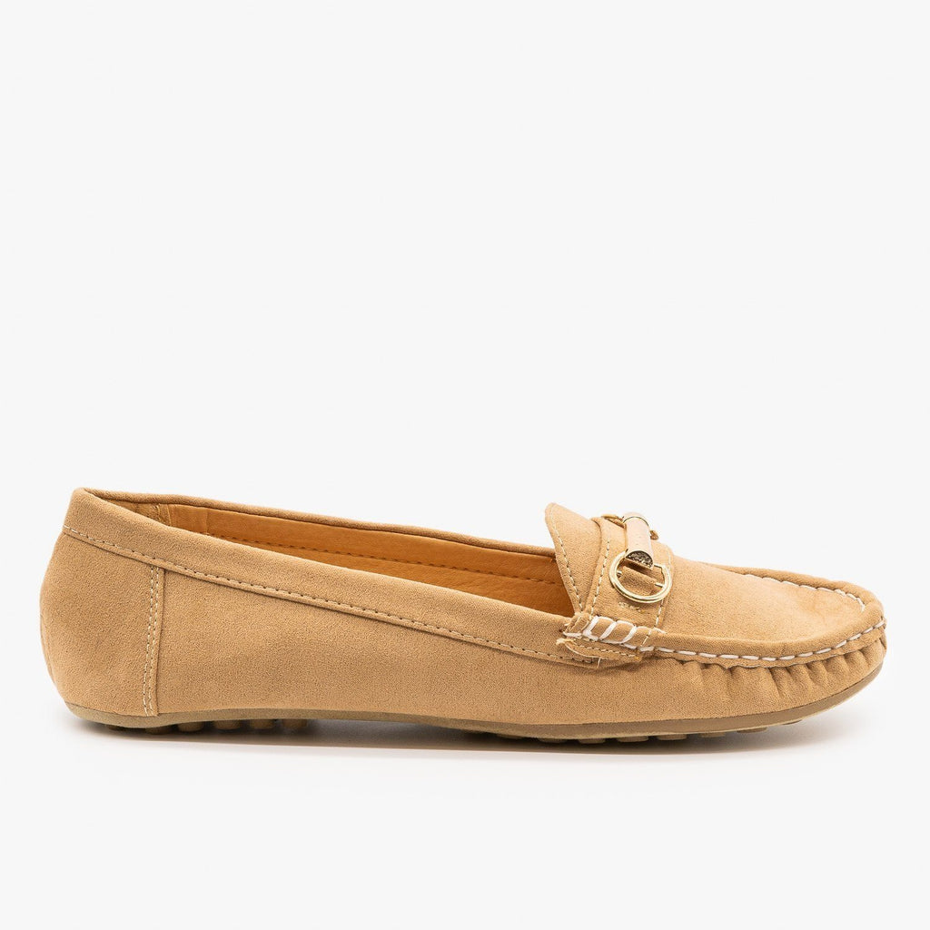 Womens Gold Buckle Loafers - Wild Diva Shoes