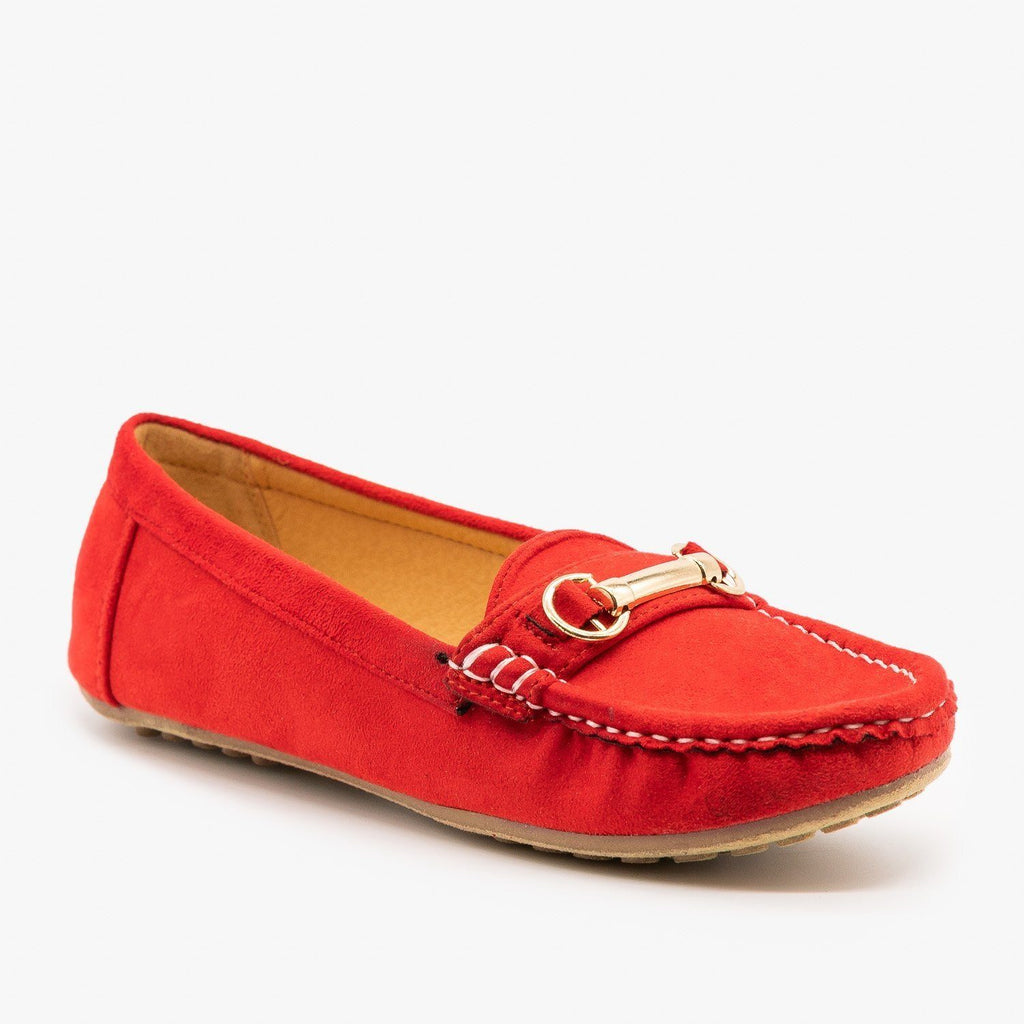Womens Gold Buckle Loafers - Wild Diva Shoes - Red / 5