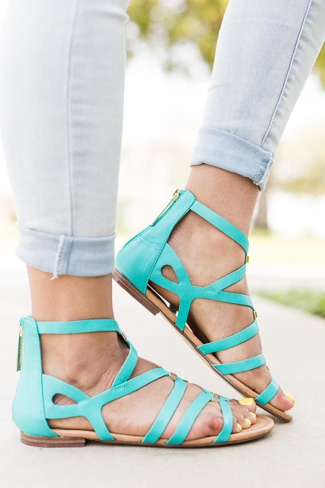 Women's Gold Detailed Strappy Sandals - Breckelle's - Aqua / 5