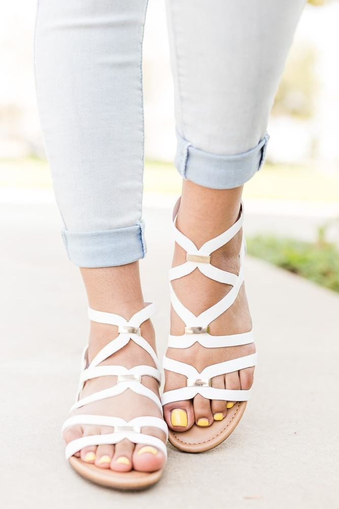 Women's Gold Detailed Strappy Sandals - Breckelle's