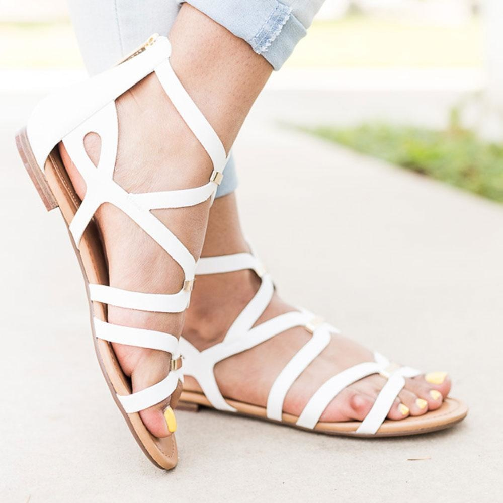 Women's Gold Detailed Strappy Sandals - Breckelle's - White / 5