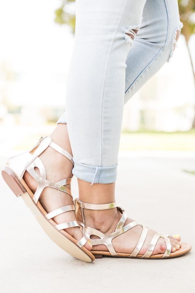Women's Gold Detailed Strappy Sandals - Breckelle's - Champagne / 5