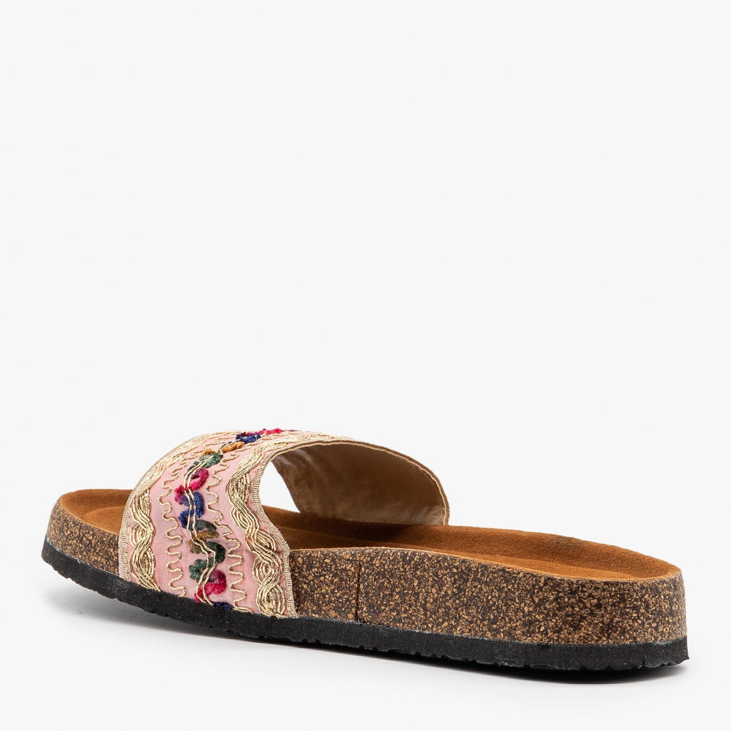 Womens Gold Embroidered Cork Slides - Refresh