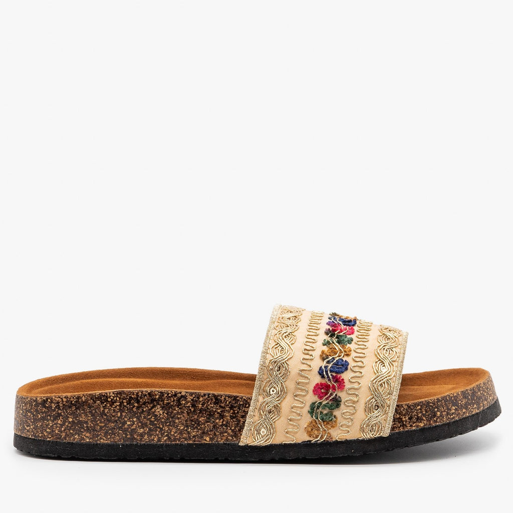 Womens Gold Embroidered Cork Slides - Refresh - Gold / 5