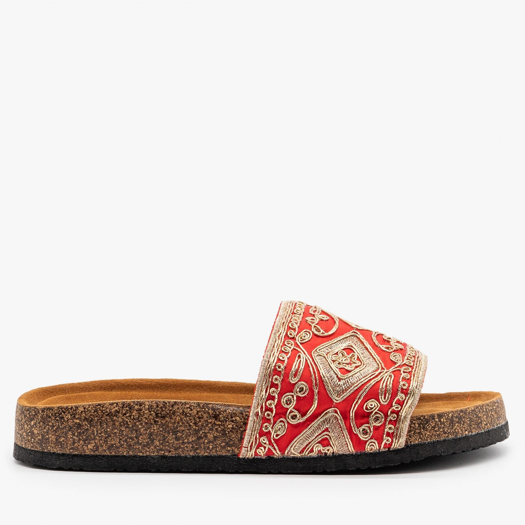 Womens Gold Embroidered Cork Slides - Refresh - Red / 5