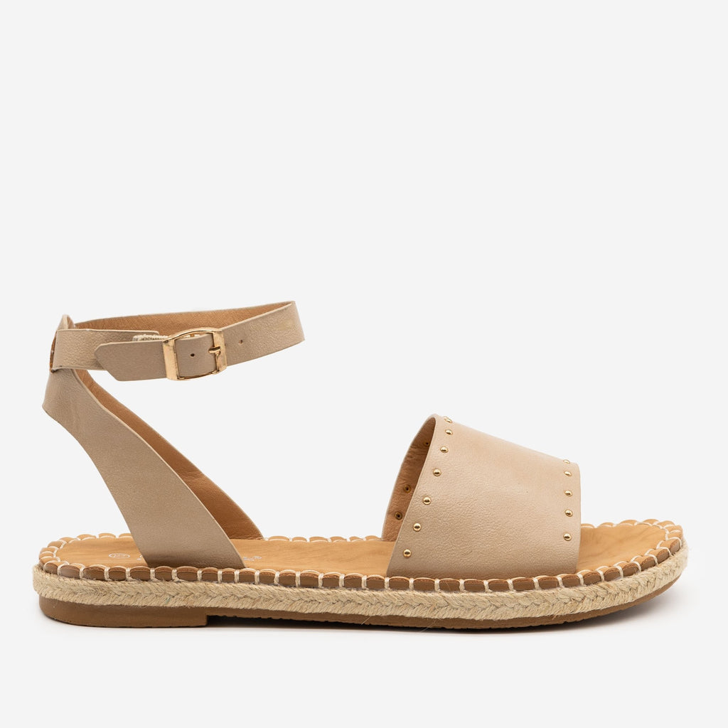 Women's Gold Espadrille Trim Sandals - Forever - Beige / 5