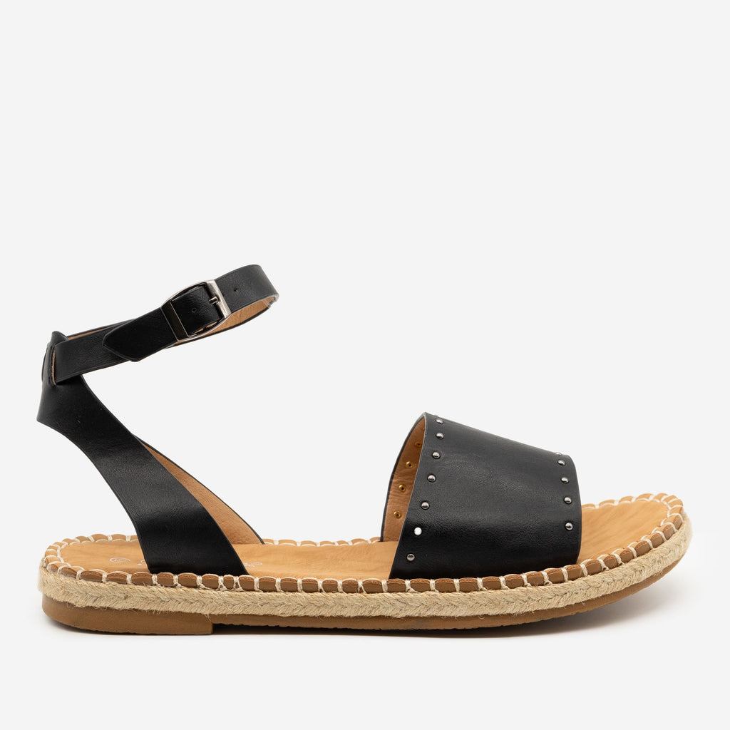 Women's Gold Espadrille Trim Sandals - Forever - Black / 5