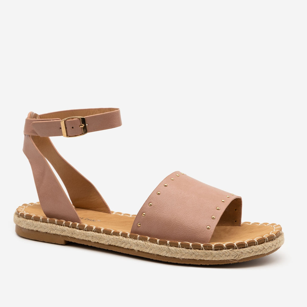 Women's Gold Espadrille Trim Sandals - Forever