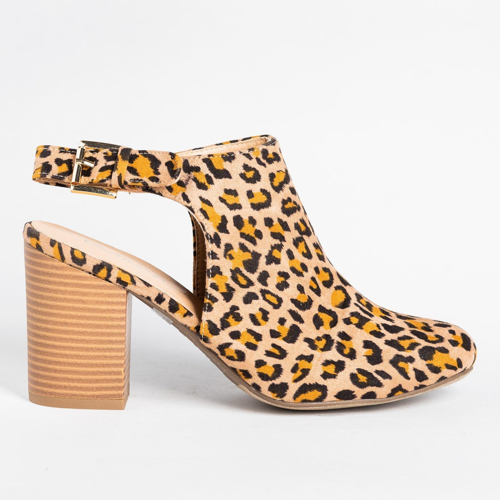 Womens Gorgeous Ankle Strap Mule Heels - Refresh - Leopard / 5
