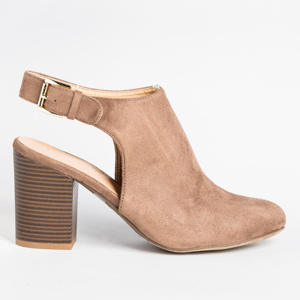 Womens Gorgeous Ankle Strap Mule Heels - Refresh - Taupe / 5