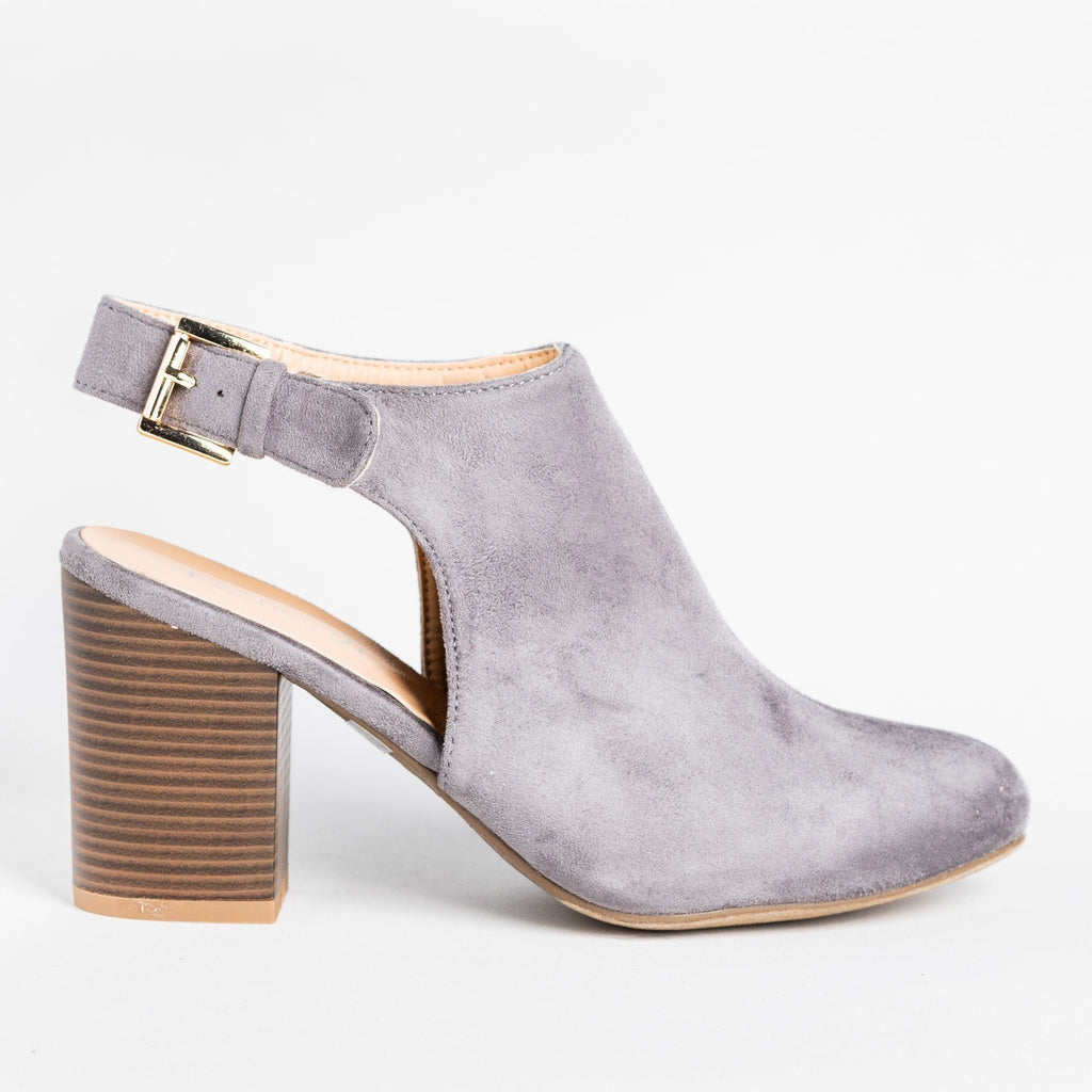 Womens Gorgeous Ankle Strap Mule Heels - Refresh - Gray / 5