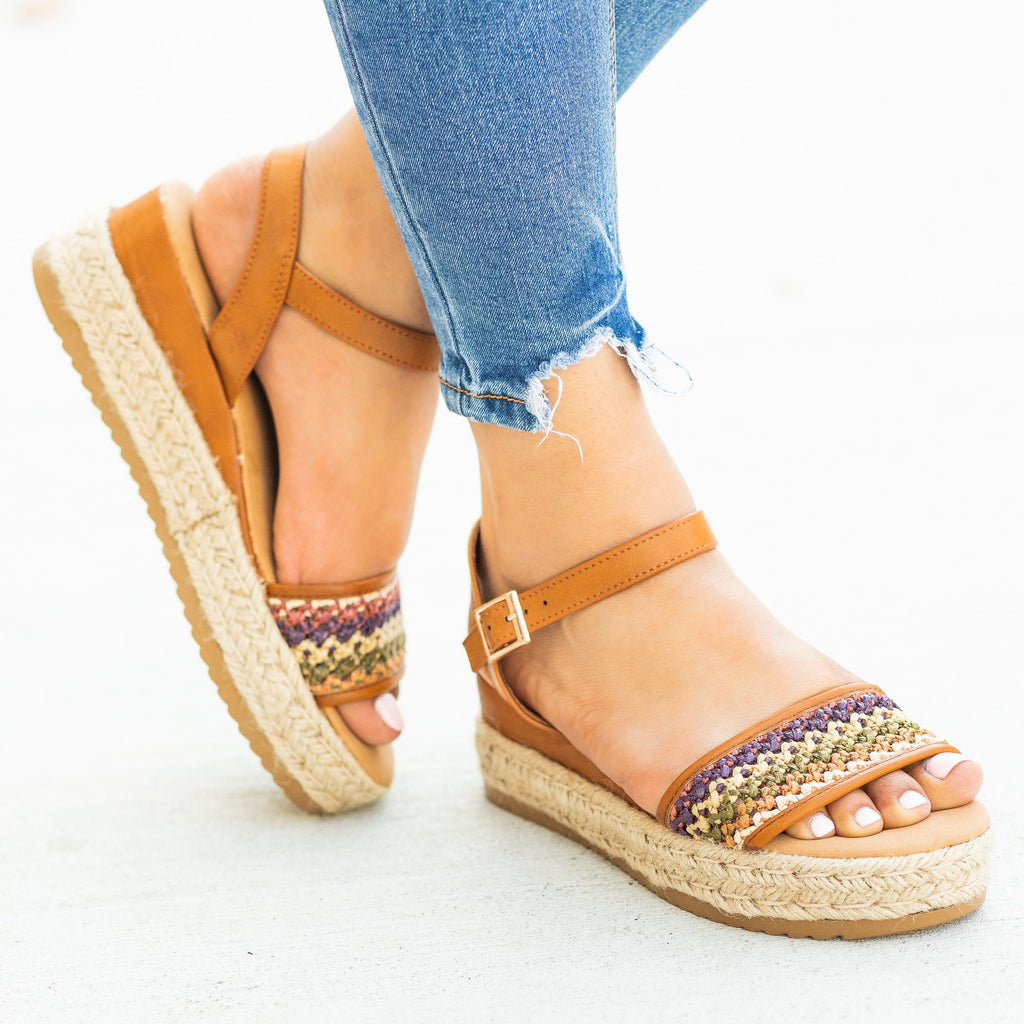 Womens Gorgeous Basketweave Espadrille Wedges - Bamboo Shoes - Tan / 5