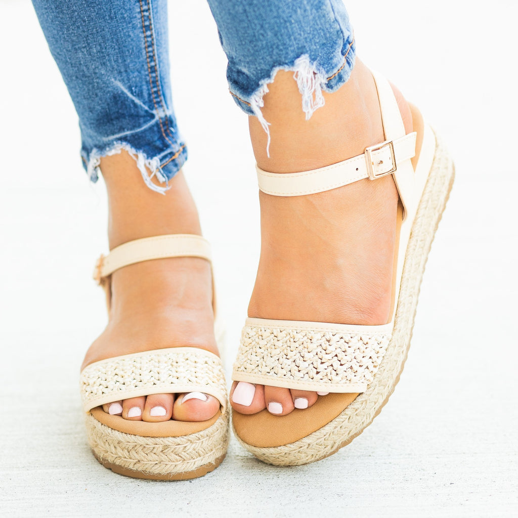 Womens Gorgeous Basketweave Espadrille Wedges - Bamboo Shoes - Ivy / 5