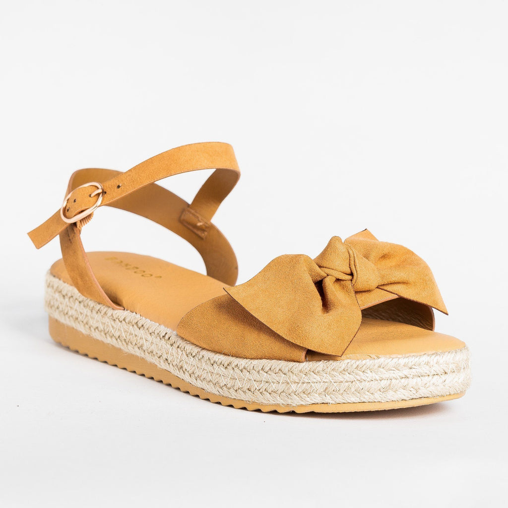 Womens Gorgeous Bow Espadrille Sandals - Bamboo Shoes - Tan / 5