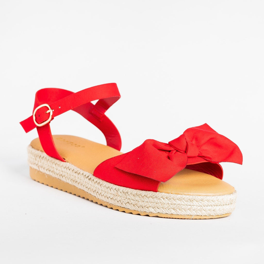 Womens Gorgeous Bow Espadrille Sandals - Bamboo Shoes - Red / 5