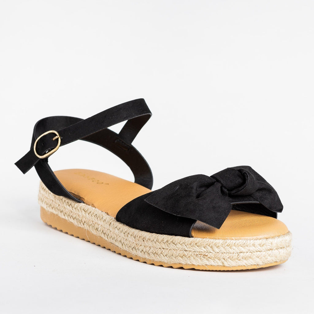 Womens Gorgeous Bow Espadrille Sandals - Bamboo Shoes - Black / 5