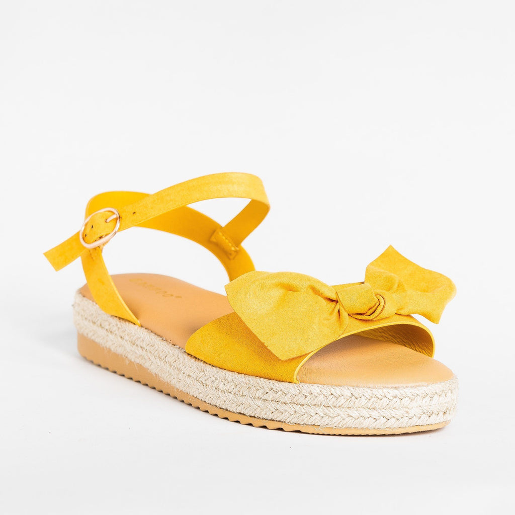 Womens Gorgeous Bow Espadrille Sandals - Bamboo Shoes - Marigold / 5