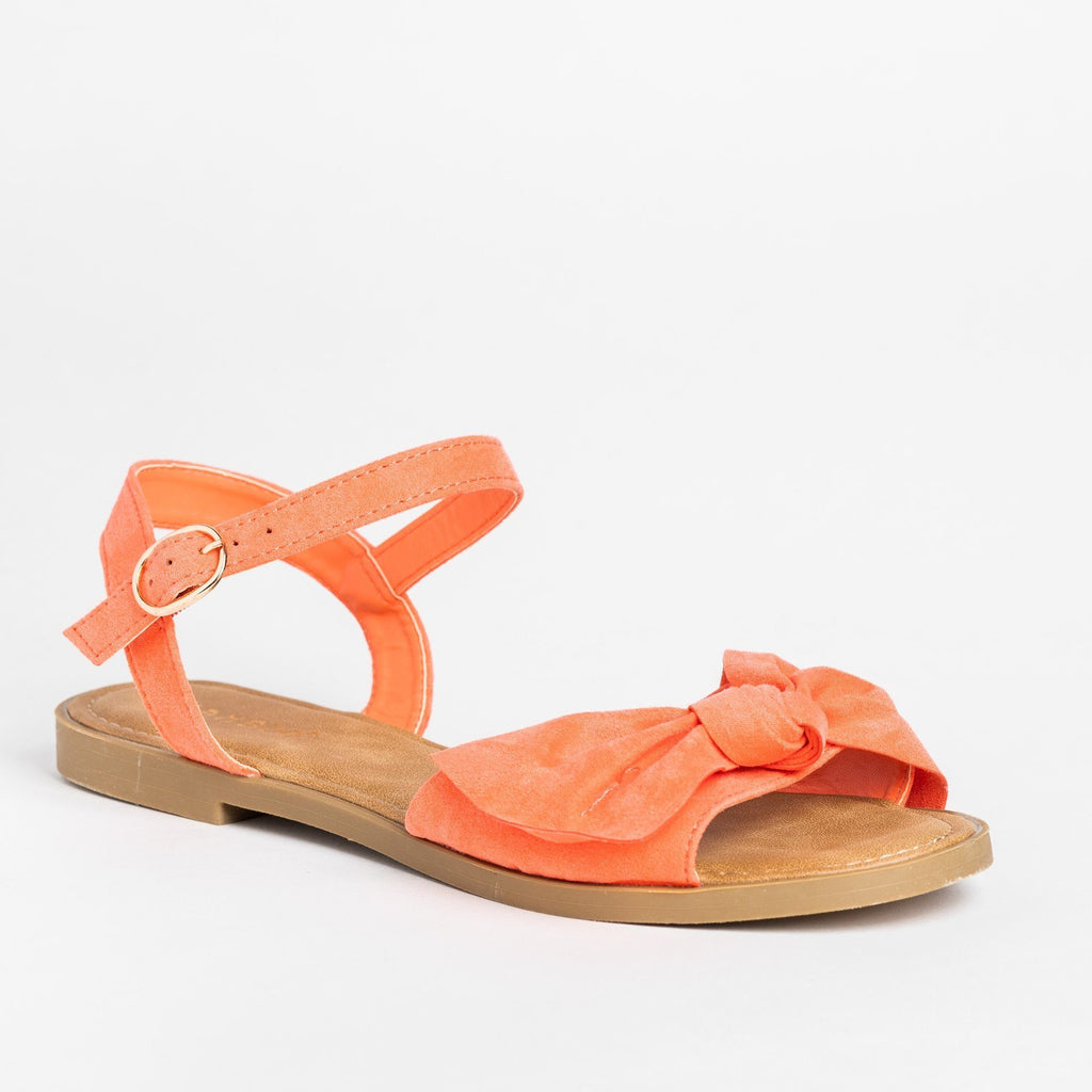 Womens Gorgeous Bow Tie Summer Sandals - Bamboo Shoes - Coral / 5