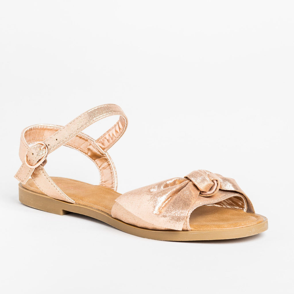 Womens Gorgeous Bow Tie Summer Sandals - Bamboo Shoes - Rose Gold / 5
