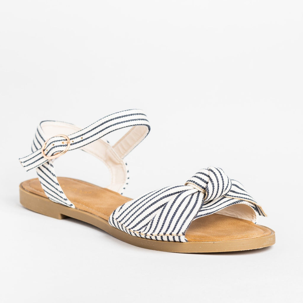 Womens Gorgeous Bow Tie Summer Sandals - Bamboo Shoes - Blue Stripes / 5