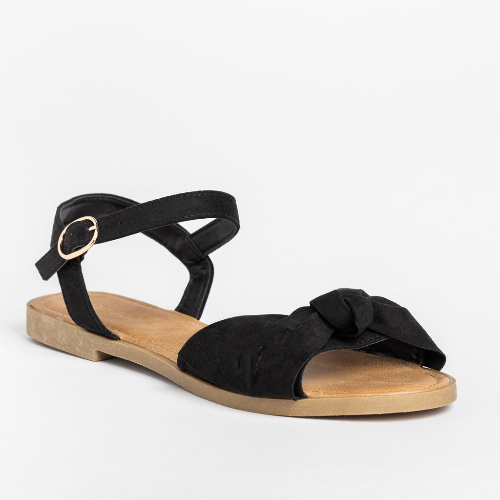 Womens Gorgeous Bow Tie Summer Sandals - Bamboo Shoes - Black / 5