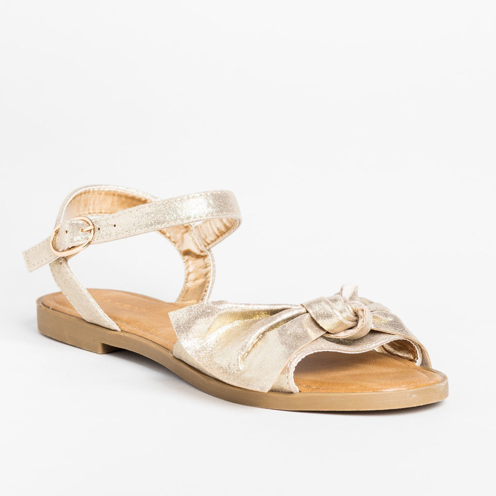 Womens Gorgeous Bow Tie Summer Sandals - Bamboo Shoes - Gold / 5