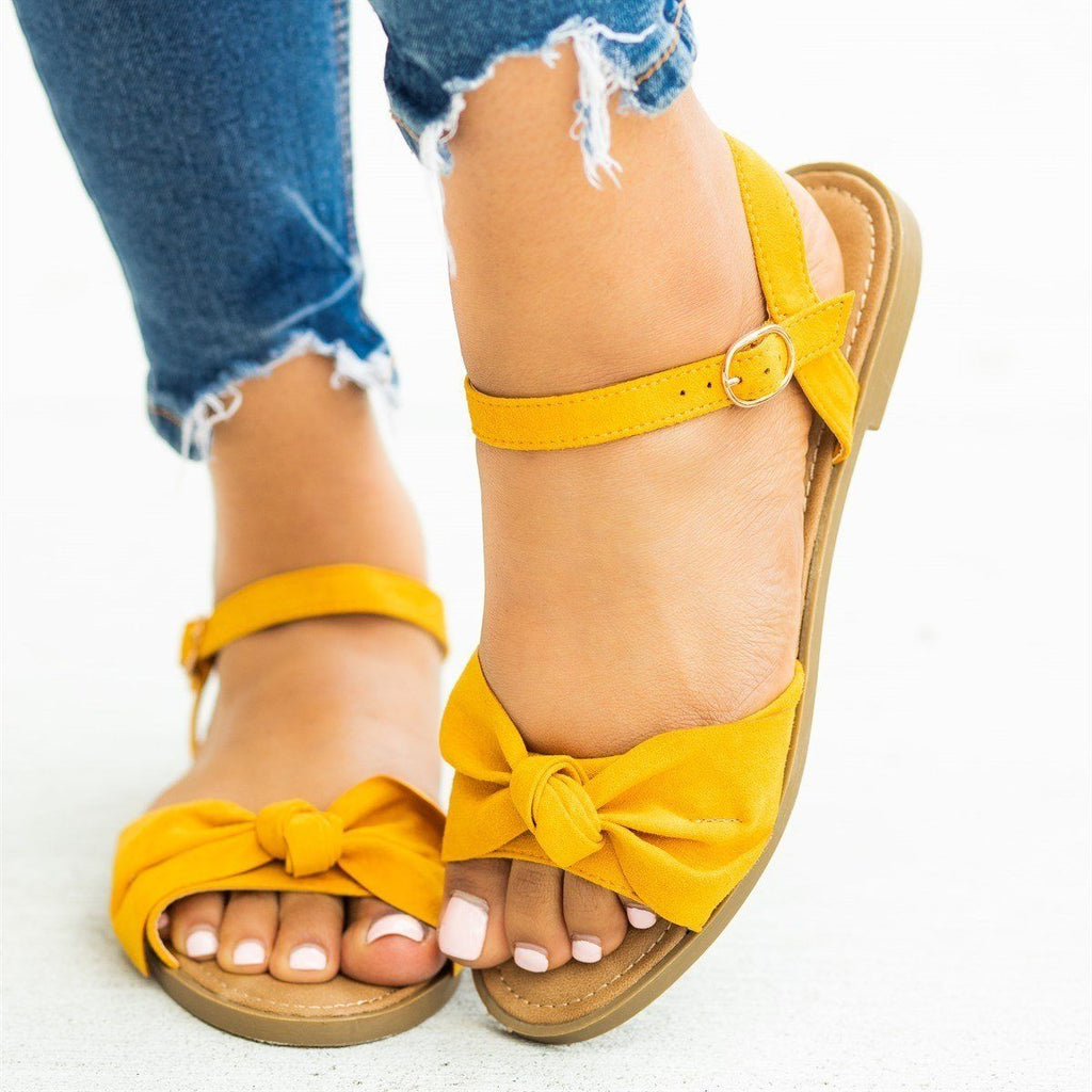 Womens Gorgeous Bow Tie Summer Sandals - Bamboo Shoes