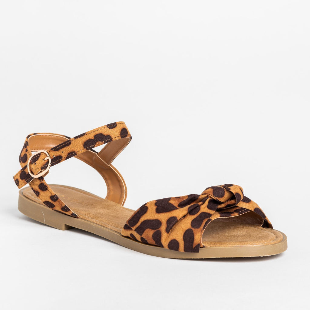 Womens Gorgeous Bow Tie Summer Sandals - Bamboo Shoes - Leopard / 5