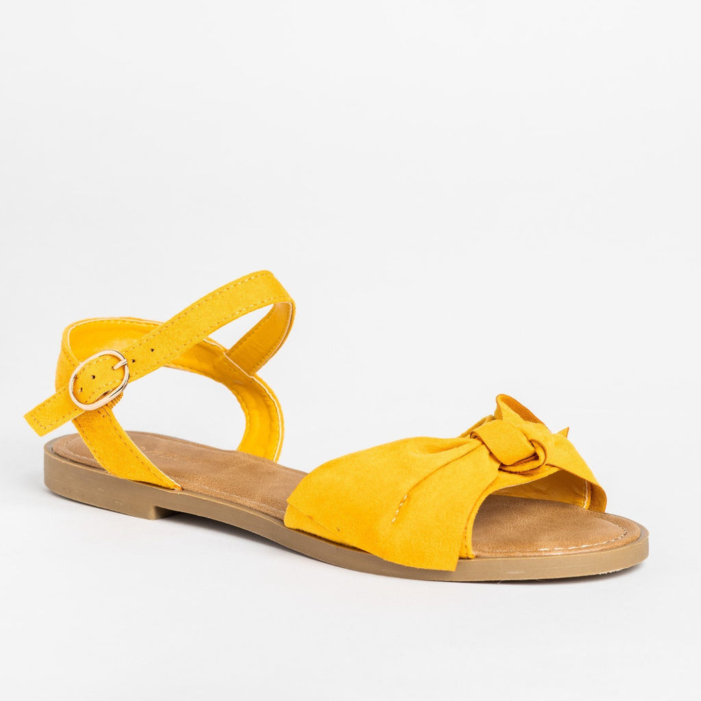 Womens Gorgeous Bow Tie Summer Sandals - Bamboo Shoes - Marigold / 5