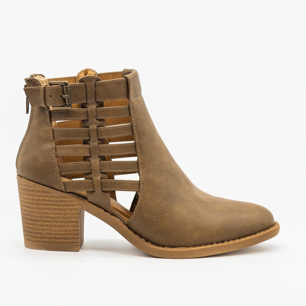 Womens Gorgeous Caged Ankle Booties - Qupid Shoes - Taupe / 5