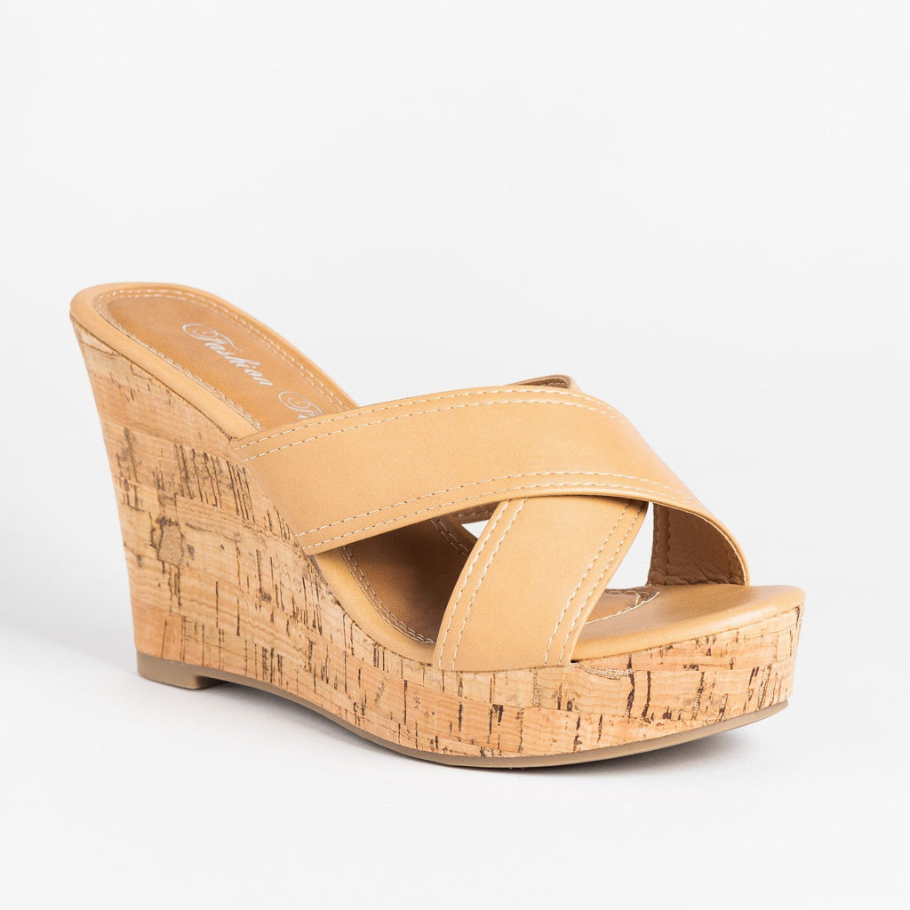 Womens Gorgeous Cork Mule Wedges - Fashion Focus - Natural / 5