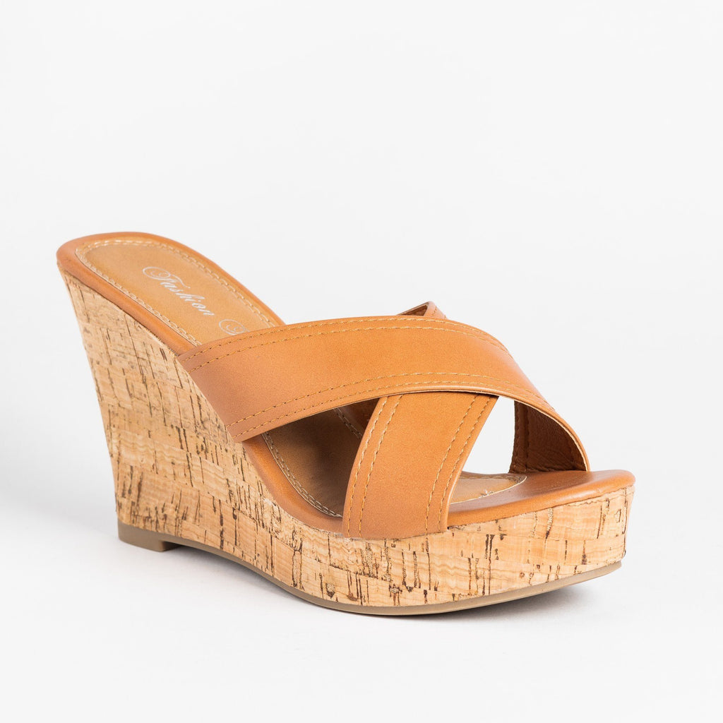 Womens Gorgeous Cork Mule Wedges - Fashion Focus - Cognac / 5