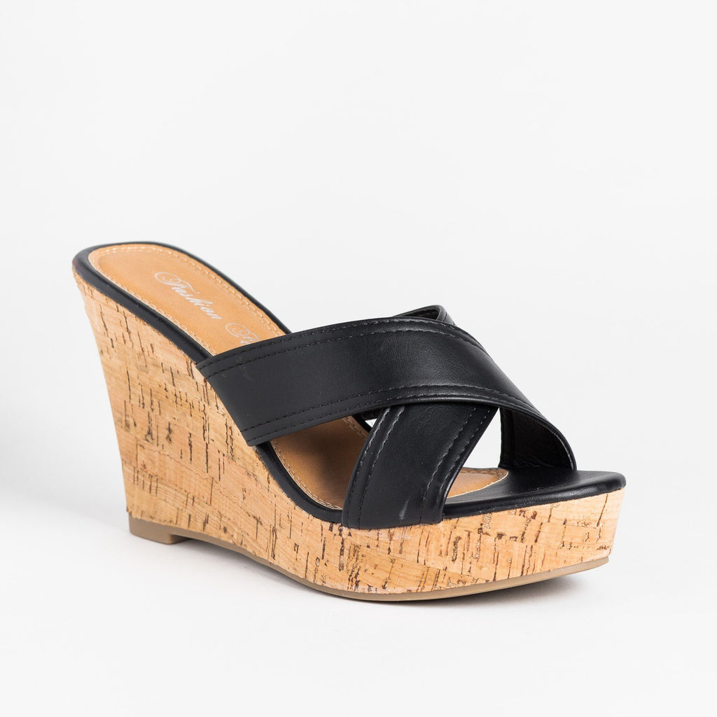 Womens Gorgeous Cork Mule Wedges - Fashion Focus - Black / 5
