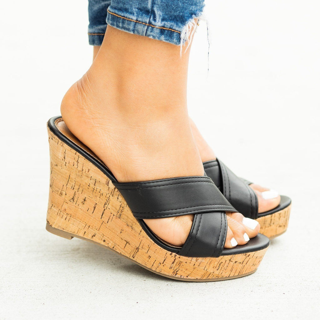 Womens Gorgeous Cork Mule Wedges - Fashion Focus
