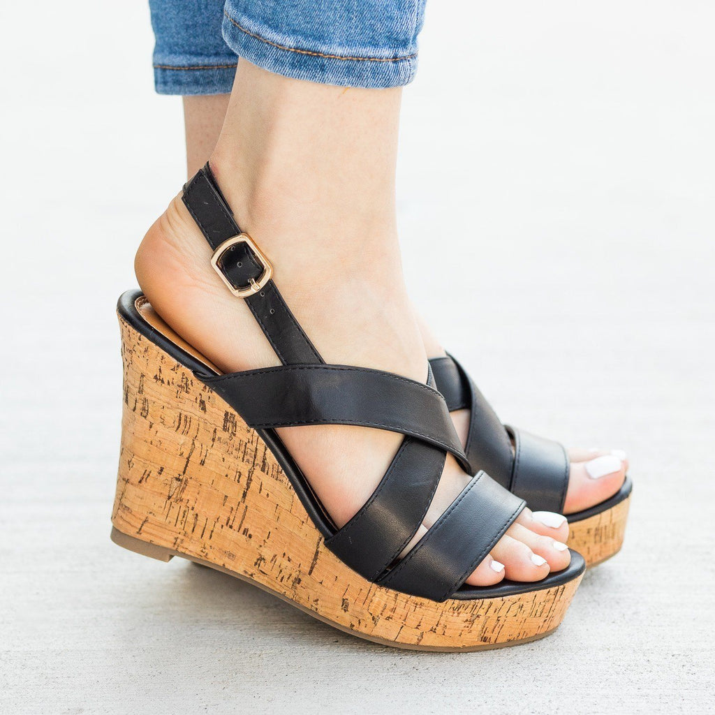 Womens Gorgeous Criss Cross Cork Wedges - Fashion Focus - Black / 5