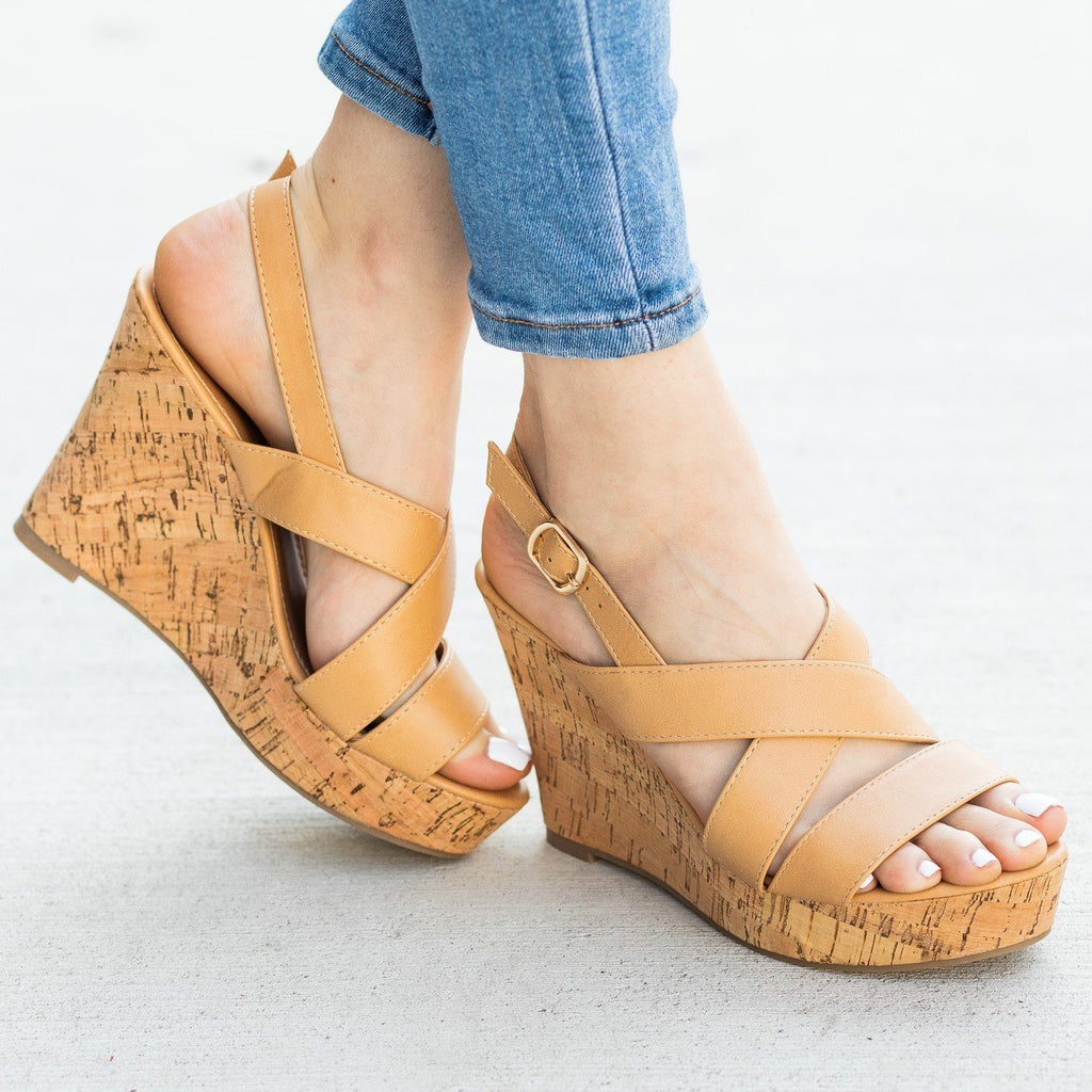 Womens Gorgeous Criss Cross Cork Wedges - Fashion Focus - Natural / 5